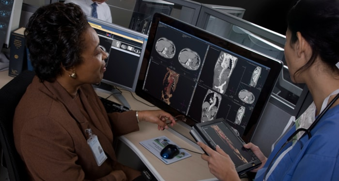 Video of a technician at Soldiers Memorial Hospital working on Enterprise Radiology Imaging Informatics